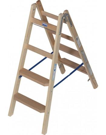 Drabina dwustronna drewniana ze stopniami/szczeblami - 2 x 4 stopnie