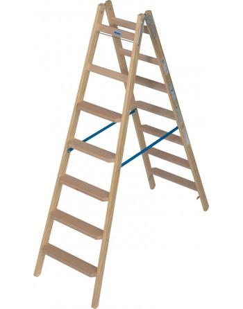 Drabina dwustronna drewniana ze stopniami/szczeblami - 2 x 7 stopni