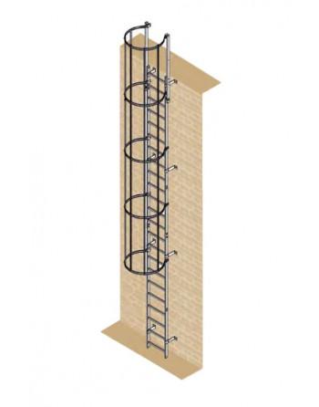 Drabina mocowana na stałe do budynków i budowli stal ocynkowana - wysokość wyjścia 7.28 m