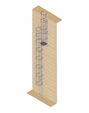 Drabina mocowana na stałe do budynków i budowli stal ocynkowana - wysokość wyjścia 14.00 m