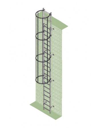 Drabina mocowana na stałe do maszyn i urządzeń stal ocynkowana - wysokość wyjścia 9.52 m