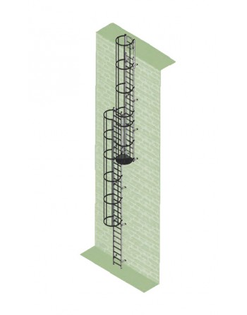 Drabina mocowana na stałe do maszyn i urządzeń stal ocynkowana - wysokość wyjścia 13.16 m