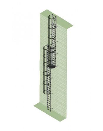 Drabina mocowana na stałe do maszyn i urządzeń stal ocynkowana - wysokość wyjścia 15.96 m