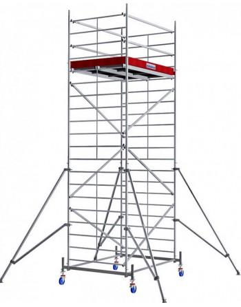 Aluminiowe rusztowanie jezdne o poszerzonej konstrukcji ProTec XXL - wys. robocza 6.30 m